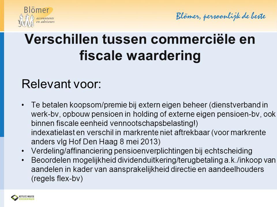 Verschillen tussen commerciële en fiscale waardering Relevant voor: •Te betalen koopsom/premie bij extern eigen beheer (dienstverband in werk-bv, opbo
