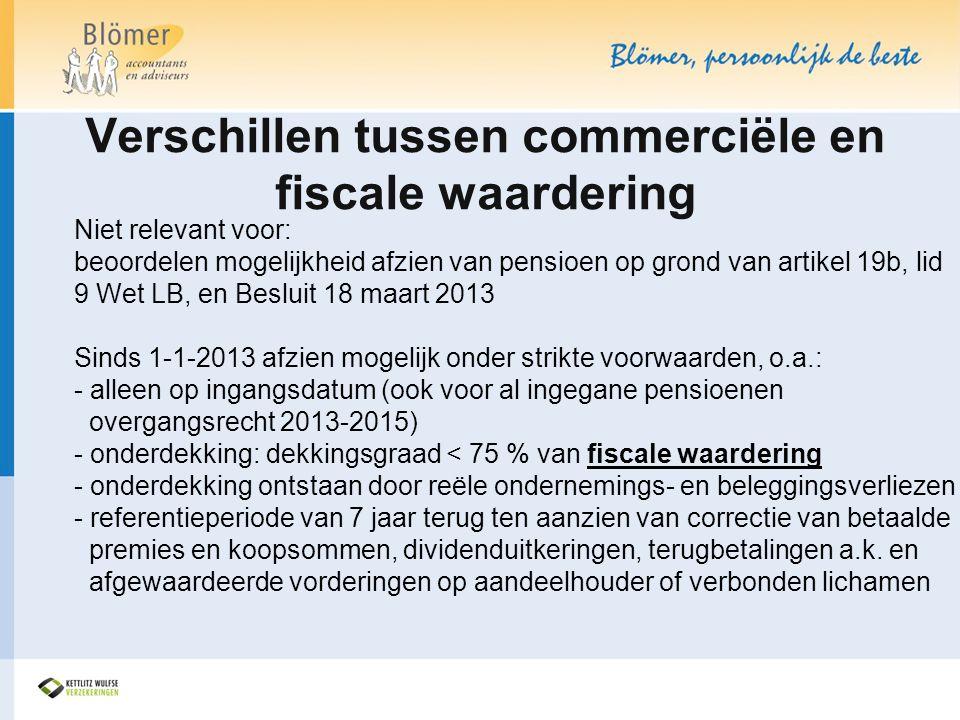 Verschillen tussen commerciële en fiscale waardering Niet relevant voor: beoordelen mogelijkheid afzien van pensioen op grond van artikel 19b, lid 9 W
