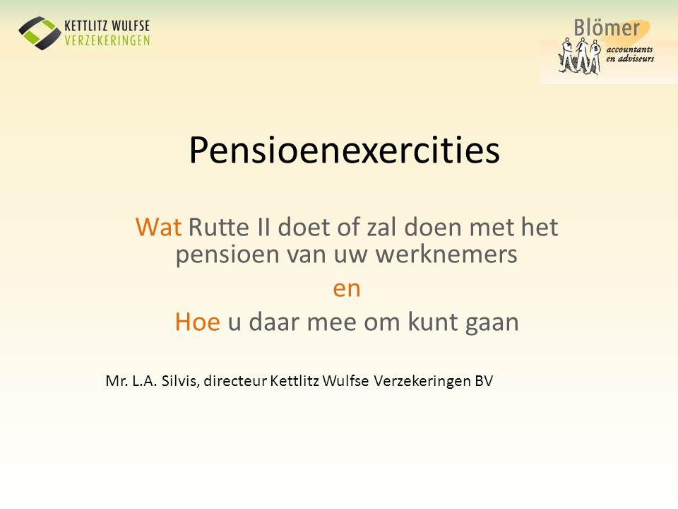 Pensioenexercities Wat Rutte II doet of zal doen met het pensioen van uw werknemers en Hoe u daar mee om kunt gaan Mr. L.A. Silvis, directeur Kettlitz