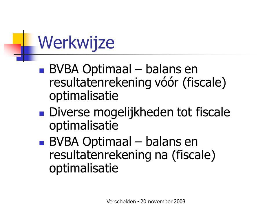 Verschelden - 20 november 2003 Werkwijze  BVBA Optimaal – balans en resultatenrekening vóór (fiscale) optimalisatie  Diverse mogelijkheden tot fiscale optimalisatie  BVBA Optimaal – balans en resultatenrekening na (fiscale) optimalisatie
