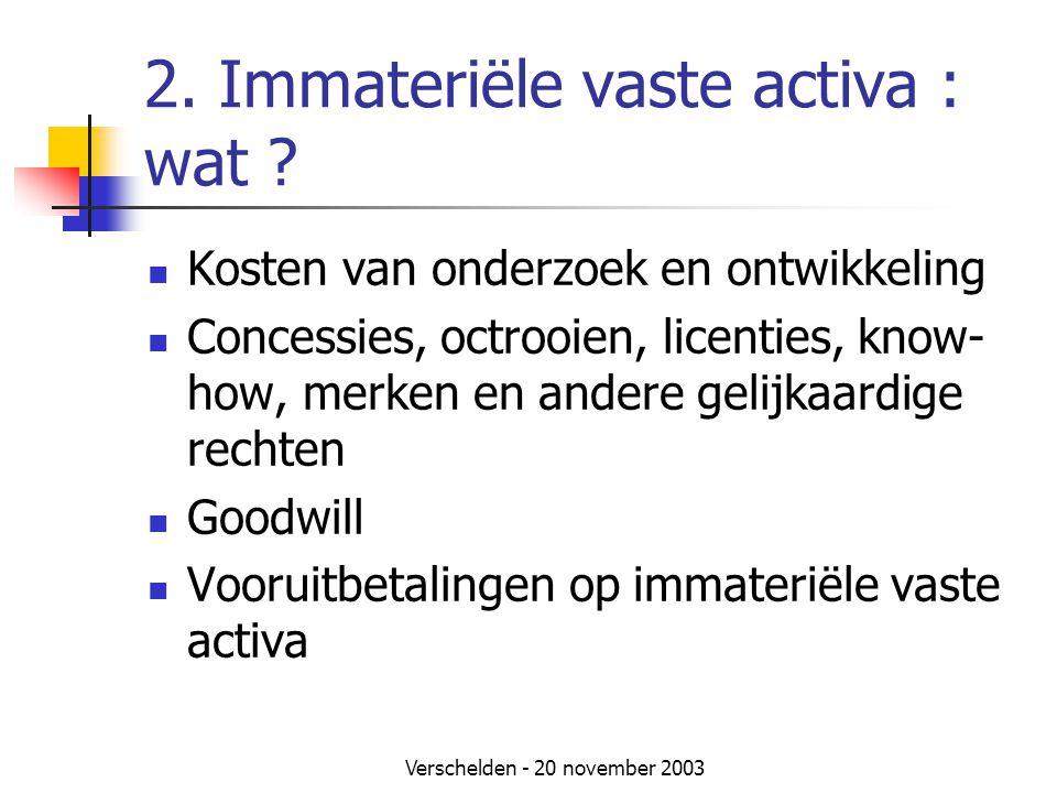 Verschelden - 20 november 2003 2.Immateriële vaste activa : wat .