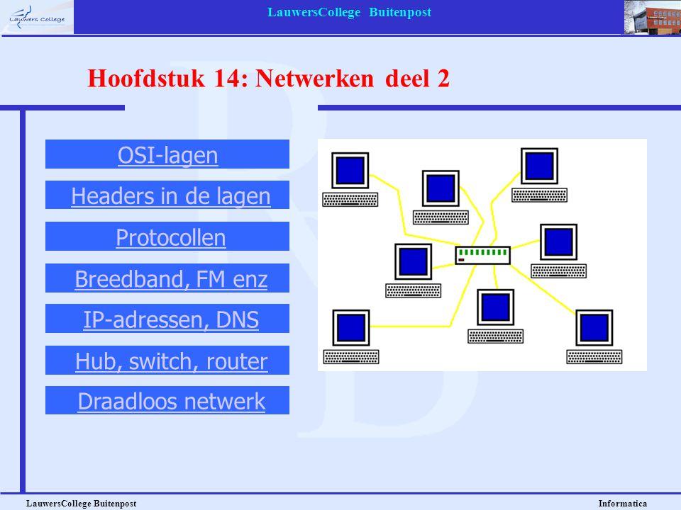 LauwersCollege Buitenpost LauwersCollege Buitenpost Informatica Hoofdstuk 14: Netwerken deel 2 OSI-lagen Headers in de lagen Protocollen Breedband, FM enz IP-adressen, DNS Hub, switch, router Draadloos netwerk