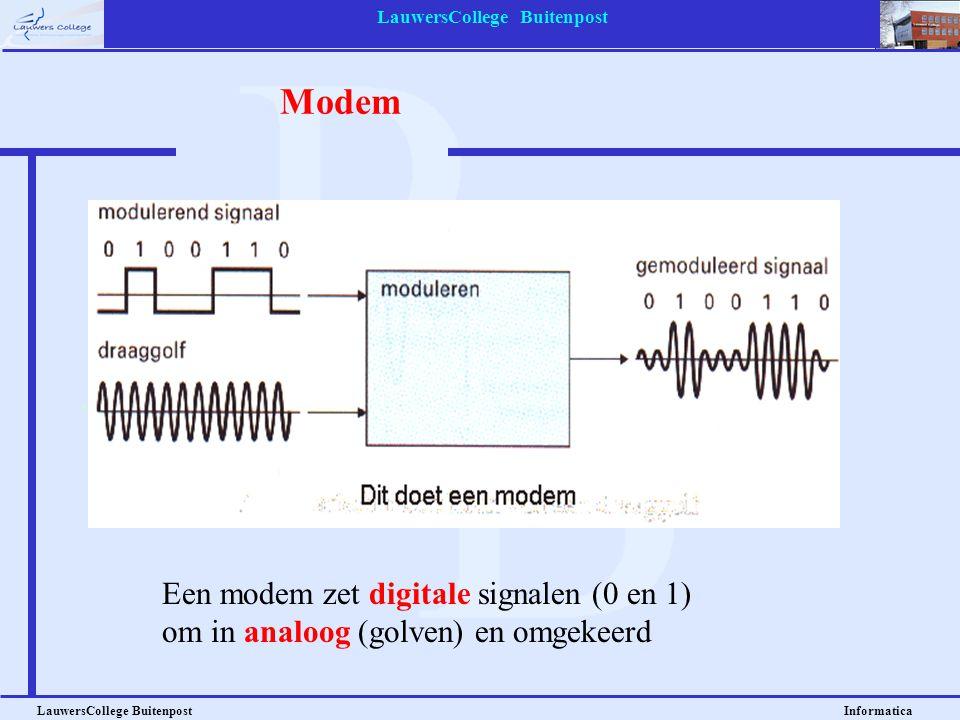 LauwersCollege Buitenpost LauwersCollege Buitenpost Informatica Modem Een modem zet digitale signalen (0 en 1) om in analoog (golven) en omgekeerd