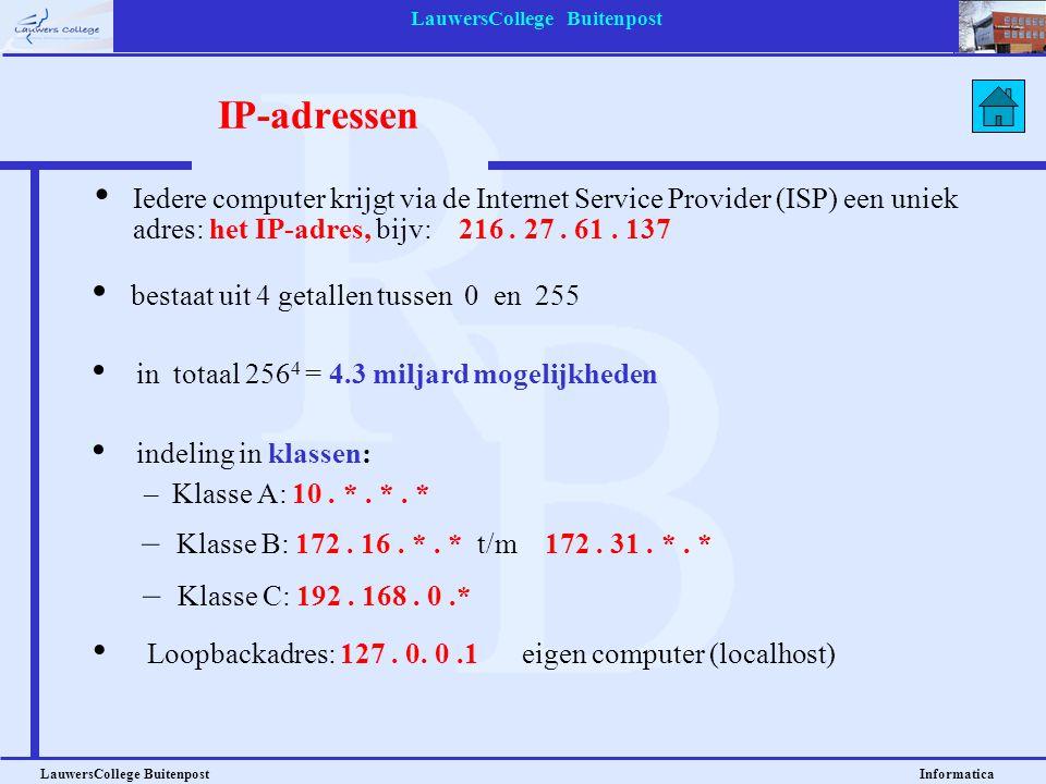 LauwersCollege Buitenpost LauwersCollege Buitenpost Informatica IP-adressen • Iedere computer krijgt via de Internet Service Provider (ISP) een uniek adres: het IP-adres, bijv: 216.
