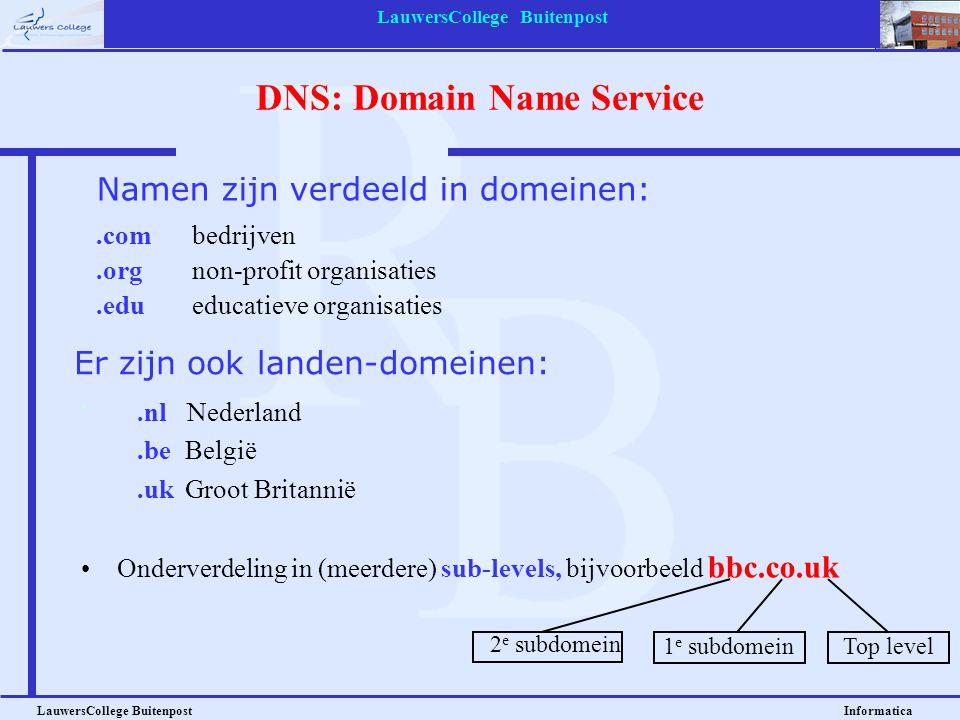 LauwersCollege Buitenpost LauwersCollege Buitenpost Informatica DNS: Domain Name Service.combedrijven.orgnon-profit organisaties.edueducatieve organis