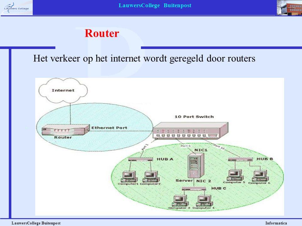 LauwersCollege Buitenpost LauwersCollege Buitenpost Informatica Router Het verkeer op het internet wordt geregeld door routers