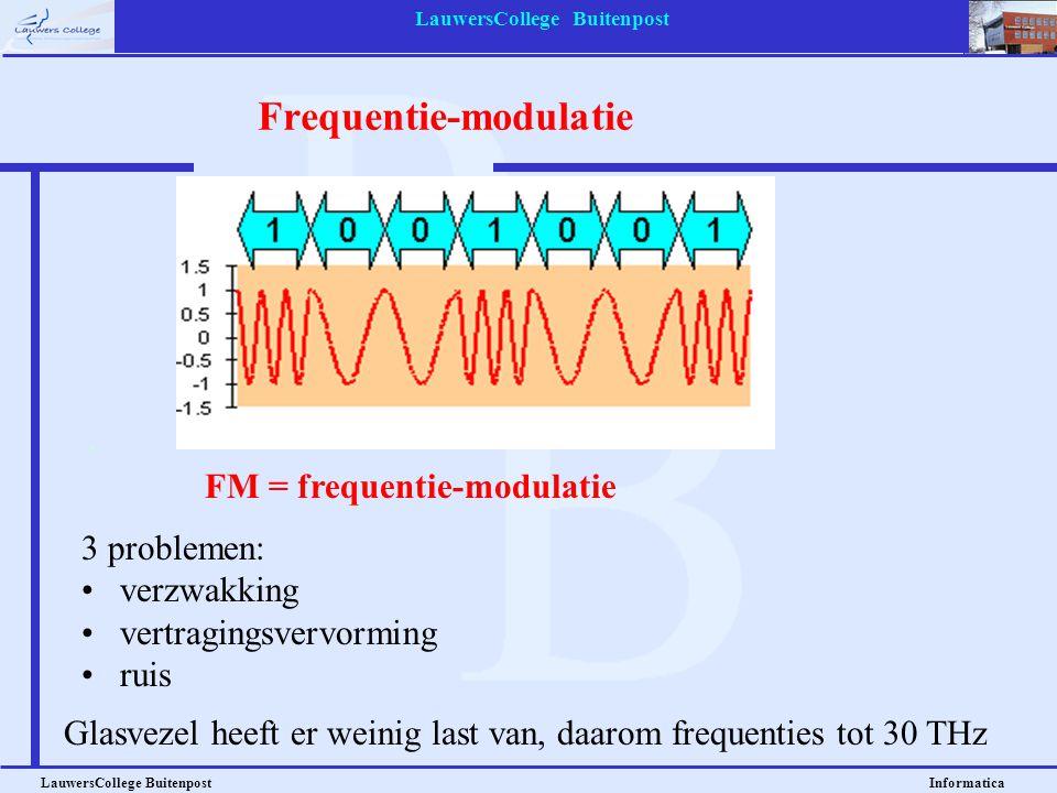 LauwersCollege Buitenpost LauwersCollege Buitenpost Informatica Signaalelementjes 8 signaalelementjes, 200 baud 200 x 3 = 600 bps 16 signaalelementjes, 1000 baud 1000 x 4 = 4000 bps