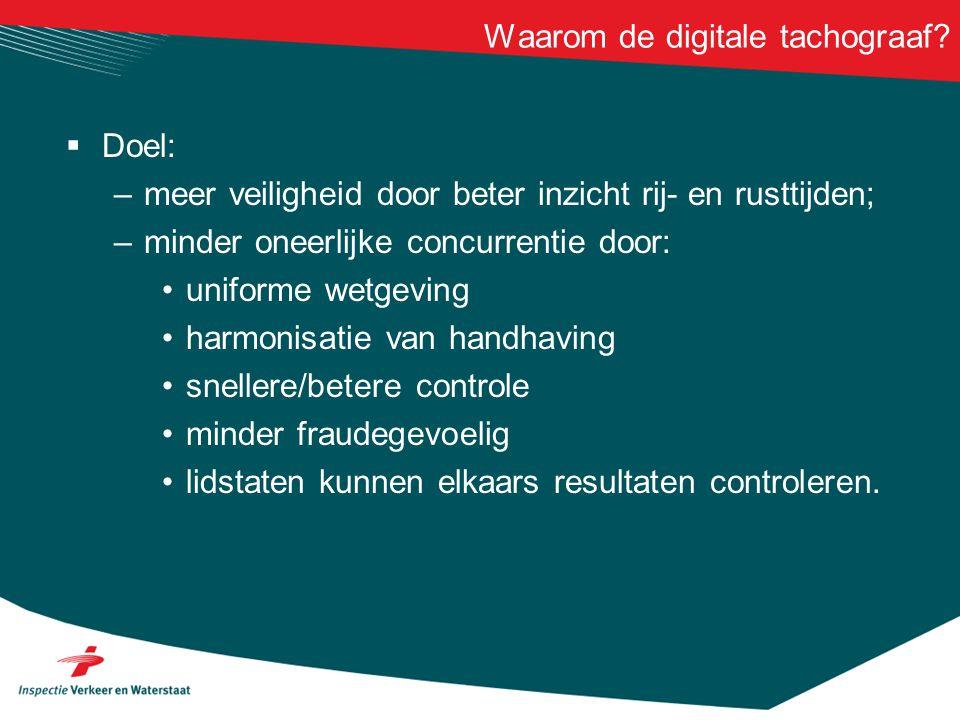Waarom de digitale tachograaf?  Doel: –meer veiligheid door beter inzicht rij- en rusttijden; –minder oneerlijke concurrentie door: • uniforme wetgev
