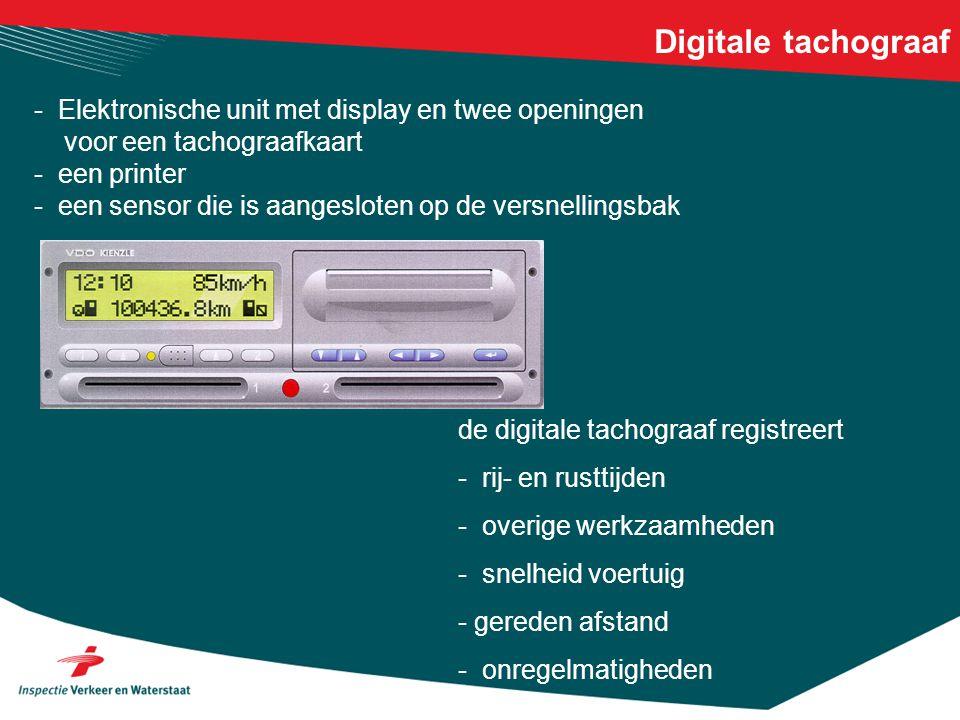 Digitale tachograaf - Elektronische unit met display en twee openingen voor een tachograafkaart - een printer - een sensor die is aangesloten op de ve