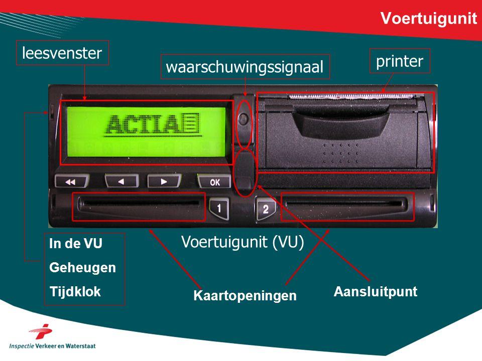 Voertuigunit Voertuigunit (VU) leesvensterwaarschuwingssignaalprinter In de VU Geheugen Tijdklok Kaartopeningen Aansluitpunt
