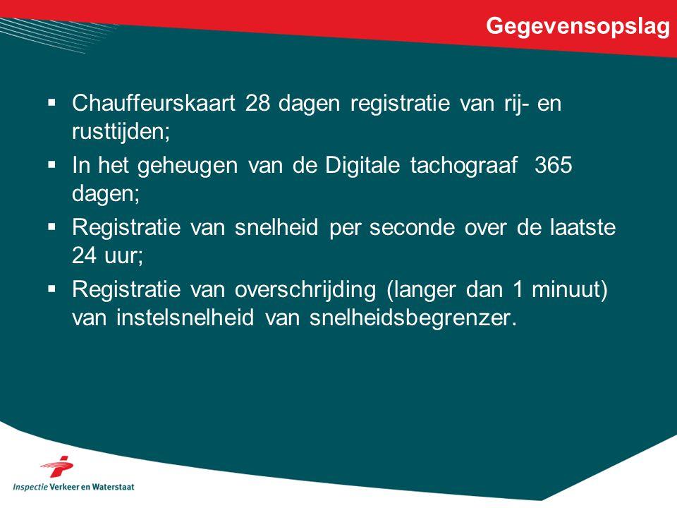 Gegevensopslag  Chauffeurskaart 28 dagen registratie van rij- en rusttijden;  In het geheugen van de Digitale tachograaf 365 dagen;  Registratie va