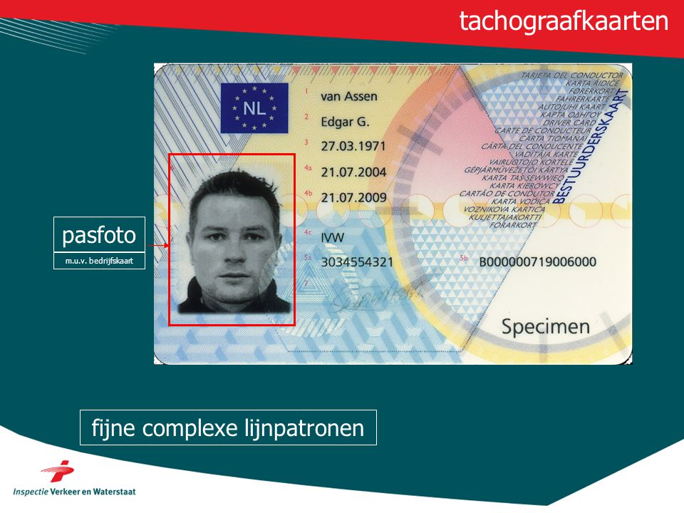 pasfoto m.u.v. bedrijfskaart tachograafkaarten fijne complexe lijnpatronen