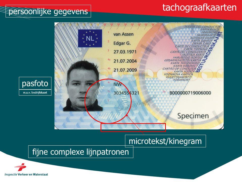 microtekst/kinegram tachograafkaarten fijne complexe lijnpatronen pasfoto m.u.v. bedrijfskaart persoonlijke gegevens
