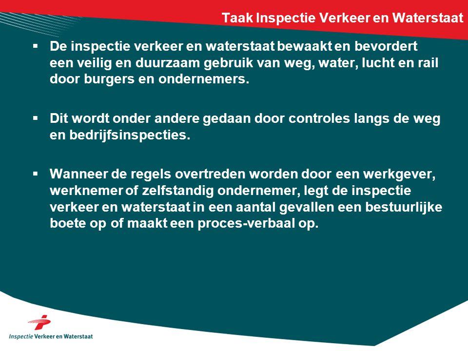 Taak Inspectie Verkeer en Waterstaat  De inspectie verkeer en waterstaat bewaakt en bevordert een veilig en duurzaam gebruik van weg, water, lucht en