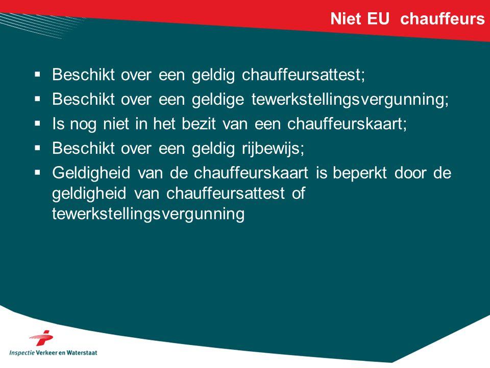 Niet EU chauffeurs  Beschikt over een geldig chauffeursattest;  Beschikt over een geldige tewerkstellingsvergunning;  Is nog niet in het bezit van