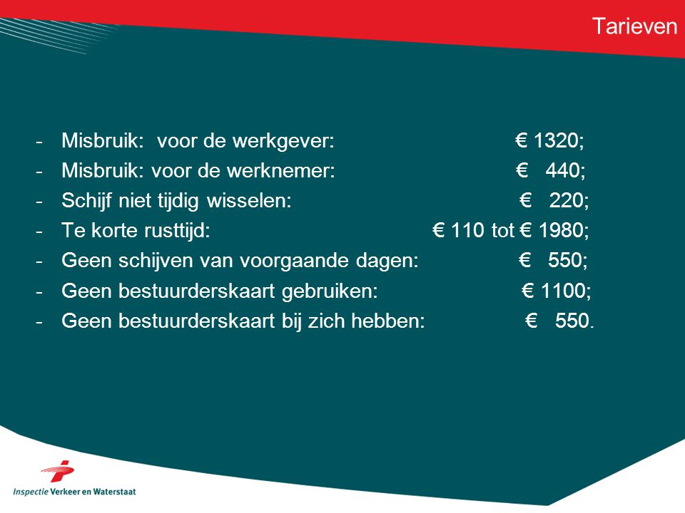 Tarieven -Misbruik: voor de werkgever: € 1320; -Misbruik: voor de werknemer: € 440; -Schijf niet tijdig wisselen: € 220; -Te korte rusttijd: € 110 tot
