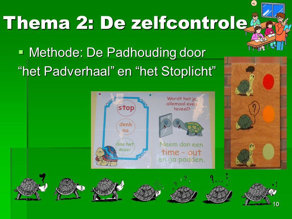 """10  Methode: De Padhouding door """"het Padverhaal"""" en """"het Stoplicht"""" Thema 2: De zelfcontrole"""