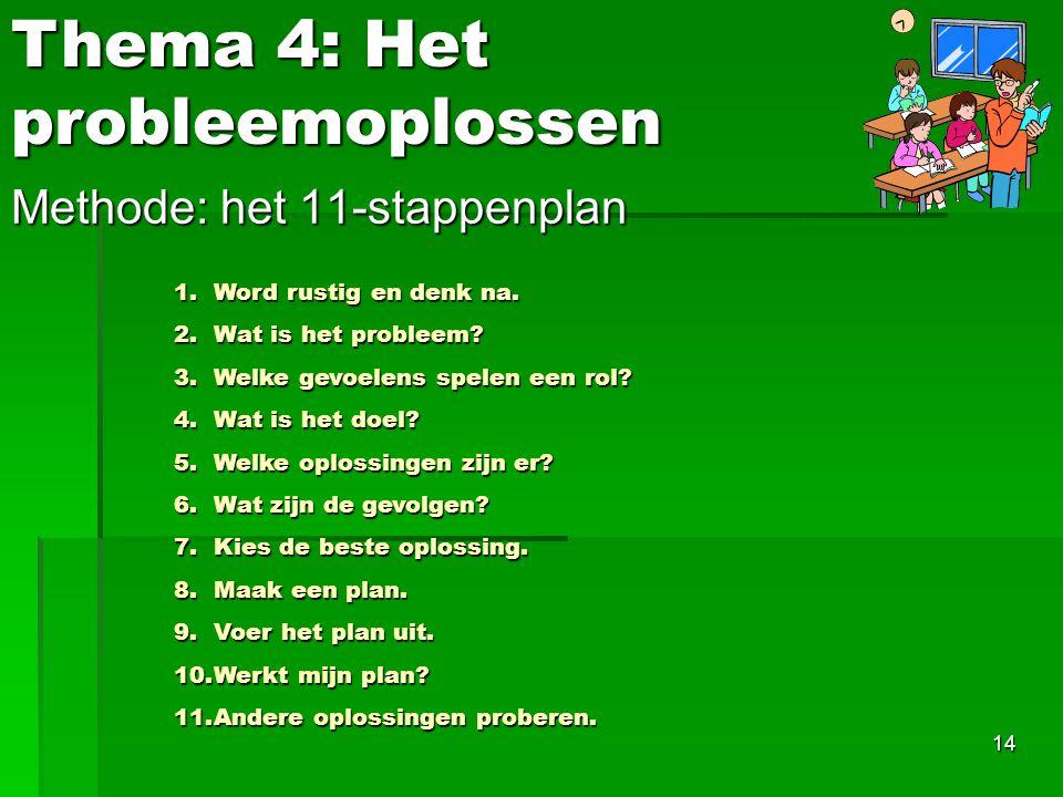 14 Methode: het 11-stappenplan Thema 4: Het probleemoplossen 1.Word rustig en denk na. 2.Wat is het probleem? 3.Welke gevoelens spelen een rol? 4.Wat