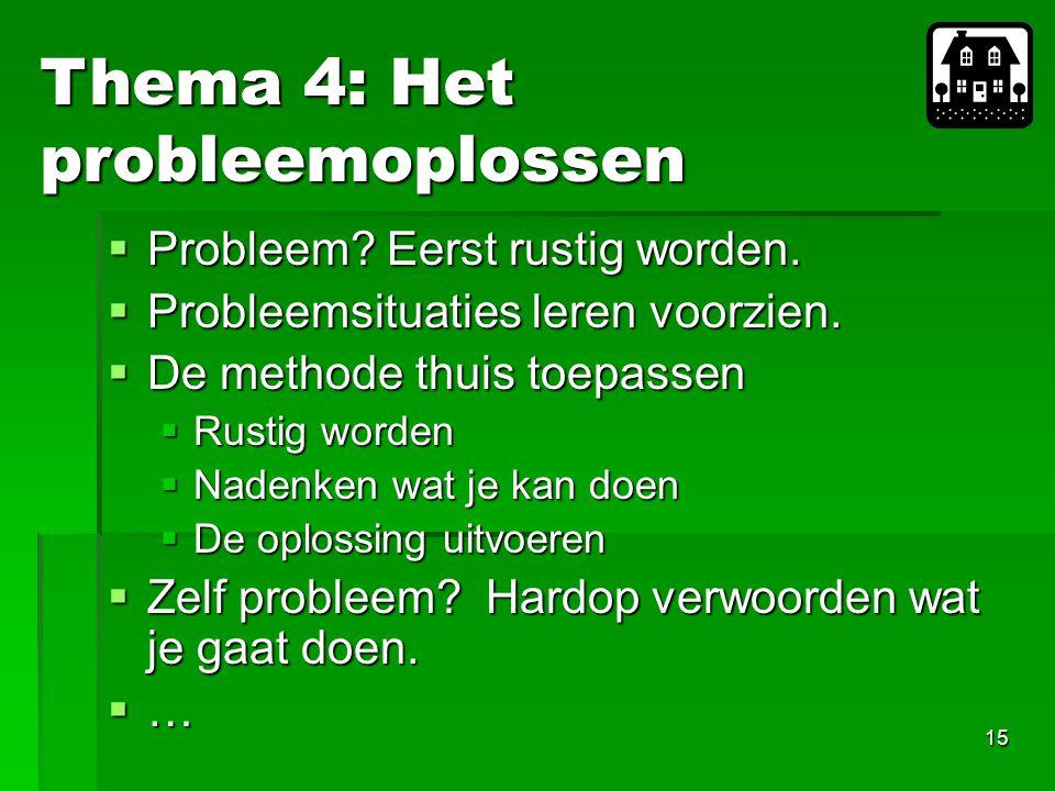 15  Probleem.Eerst rustig worden.  Probleemsituaties leren voorzien.