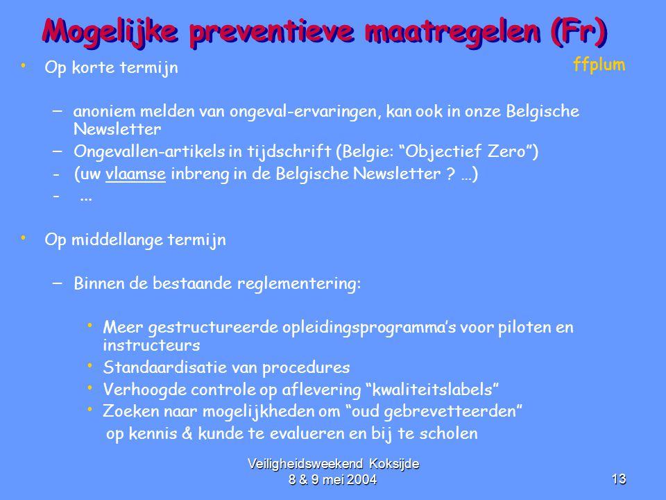 Veiligheidsweekend Koksijde 8 & 9 mei 200413 Mogelijke preventieve maatregelen (Fr) • • Op korte termijn – – anoniem melden van ongeval-ervaringen, ka