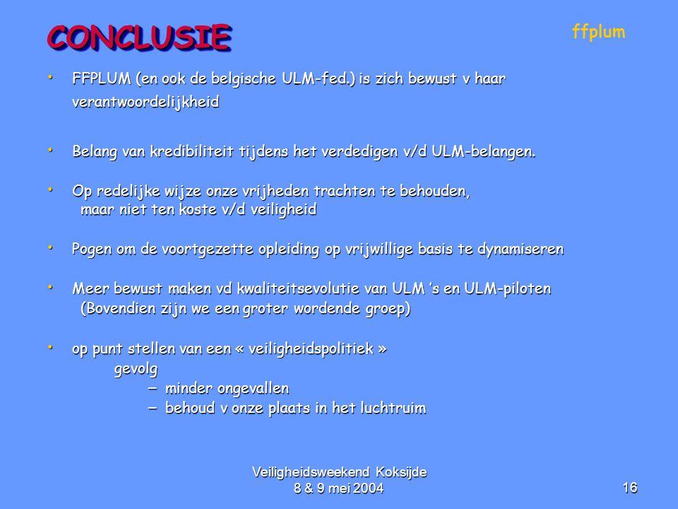 Veiligheidsweekend Koksijde 8 & 9 mei 200416CONCLUSIECONCLUSIE • FFPLUM (en ook de belgische ULM-fed.) is zich bewust v haar verantwoordelijkheid • Be