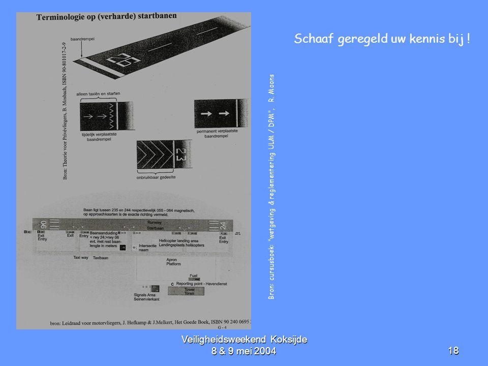"""Veiligheidsweekend Koksijde 8 & 9 mei 200418 Bron: cursusboek: """"wetgeving & reglementering ULM / DPM"""", R. Moons Schaaf geregeld uw kennis bij !"""