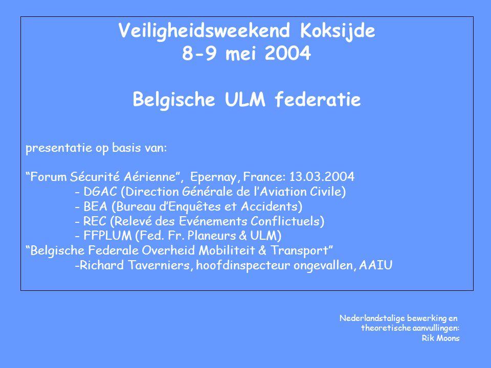 """Veiligheidsweekend Koksijde 8-9 mei 2004 Belgische ULM federatie presentatie op basis van: """"Forum Sécurité Aérienne"""", Epernay, France: 13.03.2004 - DG"""