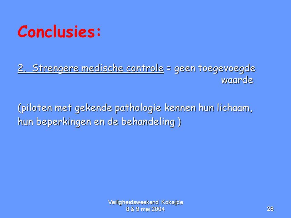 Veiligheidsweekend Koksijde 8 & 9 mei 200428 Conclusies: 2. Strengere medische controle = geen toegevoegde waarde (piloten met gekende pathologie kenn