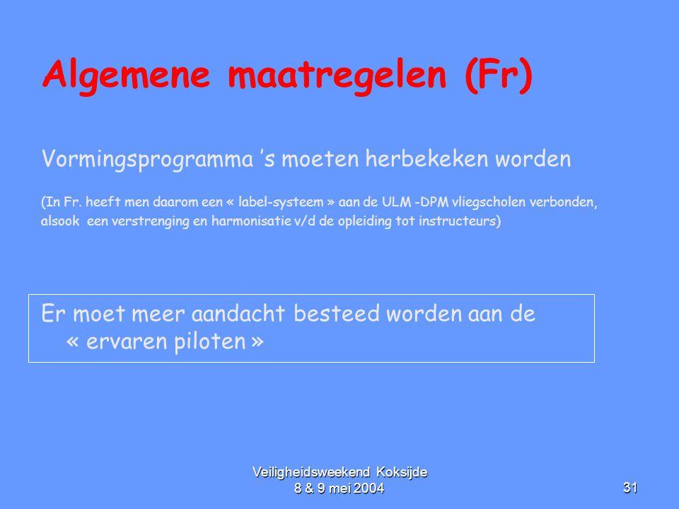 Veiligheidsweekend Koksijde 8 & 9 mei 200431 Algemene maatregelen (Fr) Vormingsprogramma 's moeten herbekeken worden (In Fr. heeft men daarom een « la