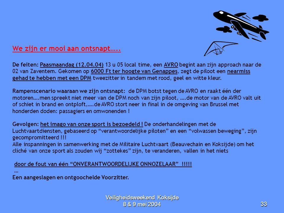 Veiligheidsweekend Koksijde 8 & 9 mei 200433 We zijn er mooi aan ontsnapt….. De feiten: Paasmaandag (12.04.04) 13 u 05 local time, een AVRO begint aan
