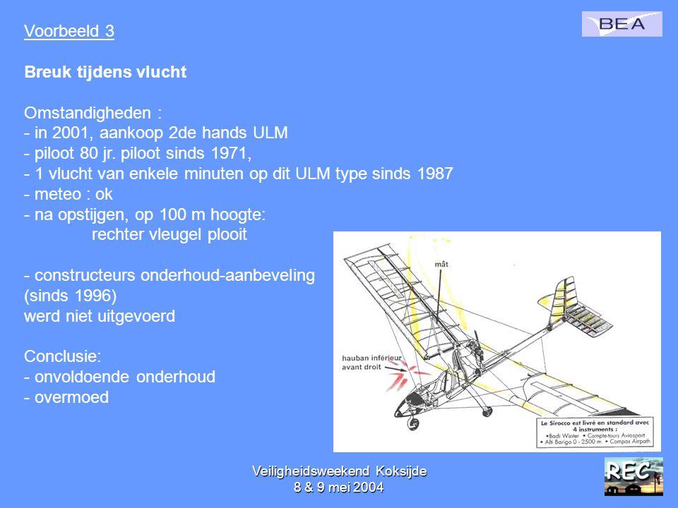 Veiligheidsweekend Koksijde 8 & 9 mei 200443 Voorbeeld 3 Breuk tijdens vlucht Omstandigheden : - in 2001, aankoop 2de hands ULM - piloot 80 jr. piloot