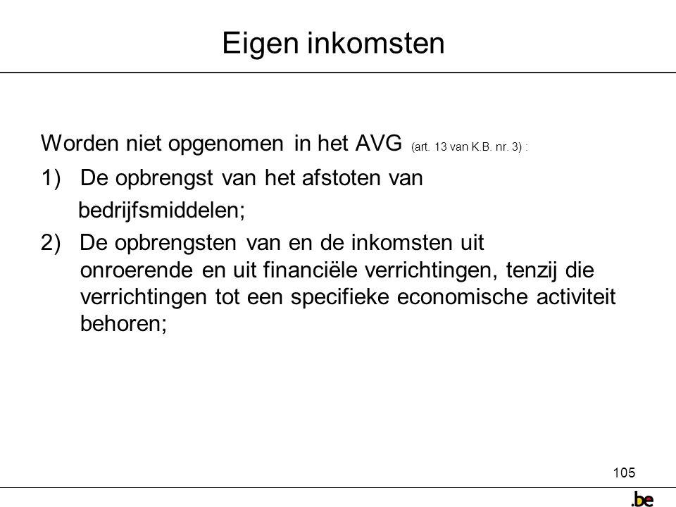 105 Eigen inkomsten Worden niet opgenomen in het AVG (art.