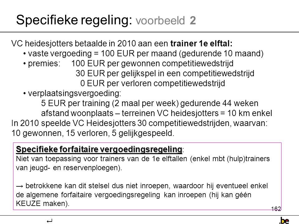 162 Specifieke regeling: voorbeeld 2 Specifieke forfaitaire vergoedingsregeling Specifieke forfaitaire vergoedingsregeling : Niet van toepassing voor trainers van de 1e elftallen (enkel mbt (hulp)trainers van jeugd- en reservenploegen).