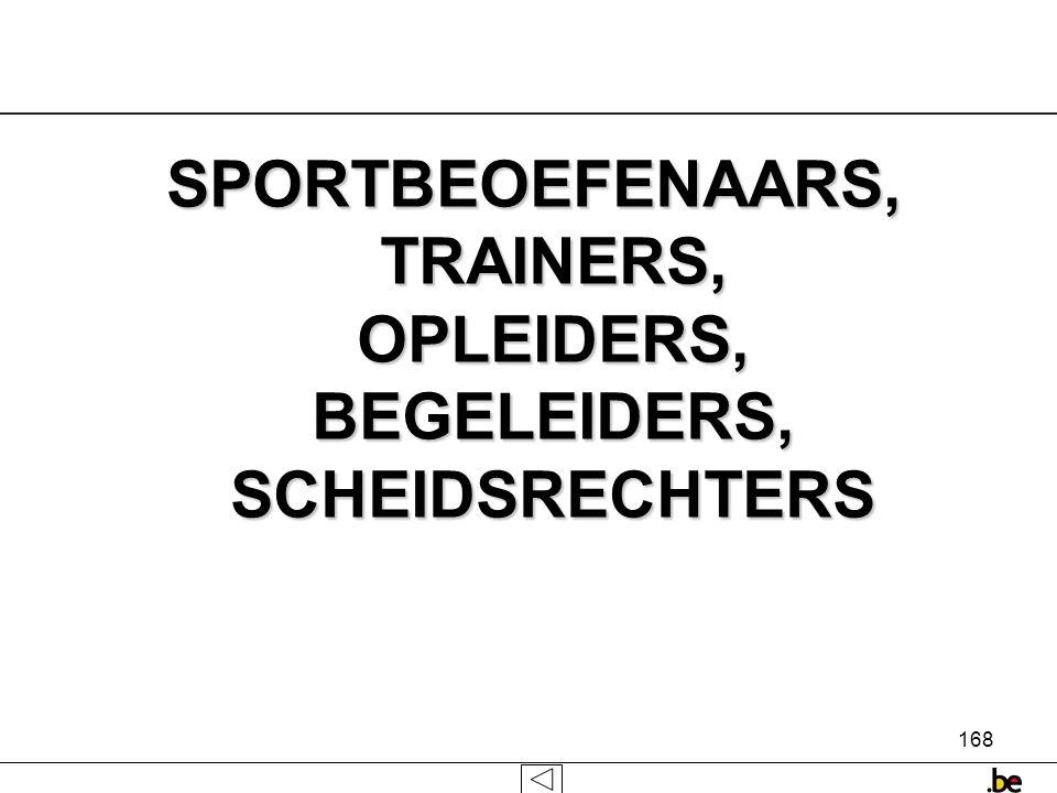 168 SPORTBEOEFENAARS, TRAINERS, OPLEIDERS, BEGELEIDERS, SCHEIDSRECHTERS