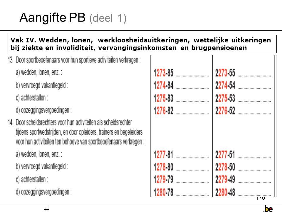 170 Aangifte PB (deel 1) Vak IV.