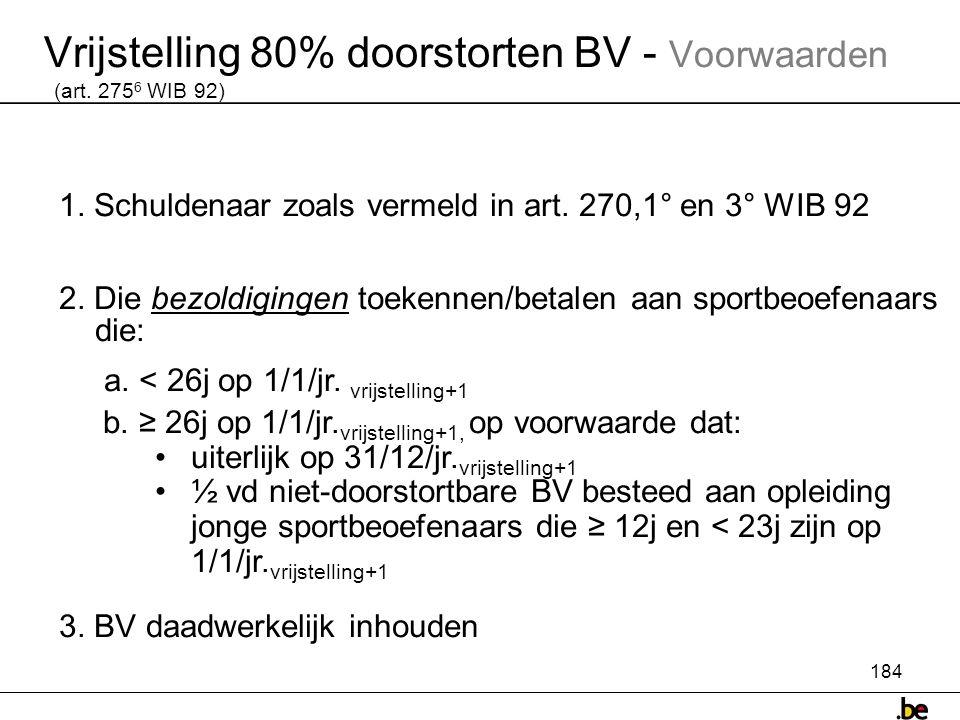 184 Vrijstelling 80% doorstorten BV - Voorwaarden (art.