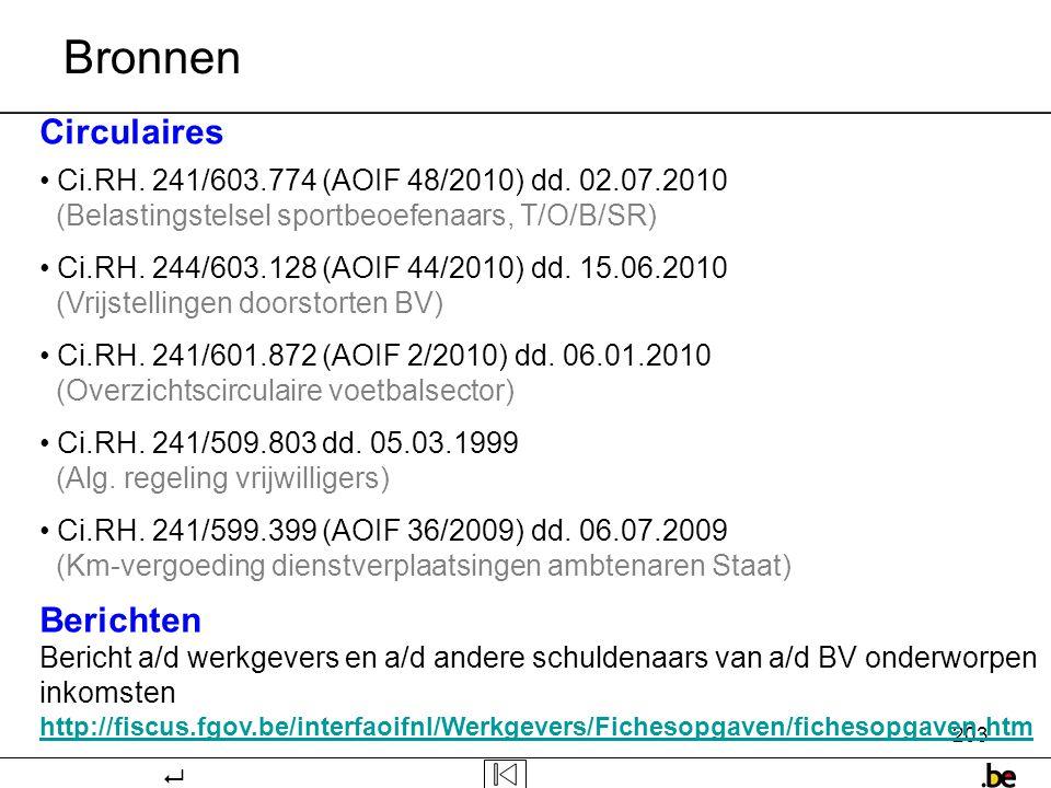 203 Bronnen Circulaires • Ci.RH.241/603.774 (AOIF 48/2010) dd.