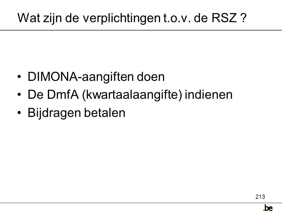 213 Wat zijn de verplichtingen t.o.v.de RSZ .
