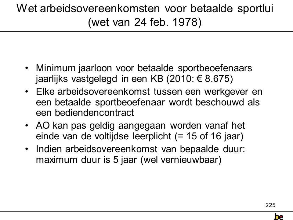 225 Wet arbeidsovereenkomsten voor betaalde sportlui (wet van 24 feb.
