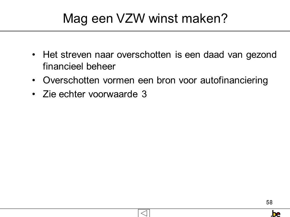 58 Mag een VZW winst maken.
