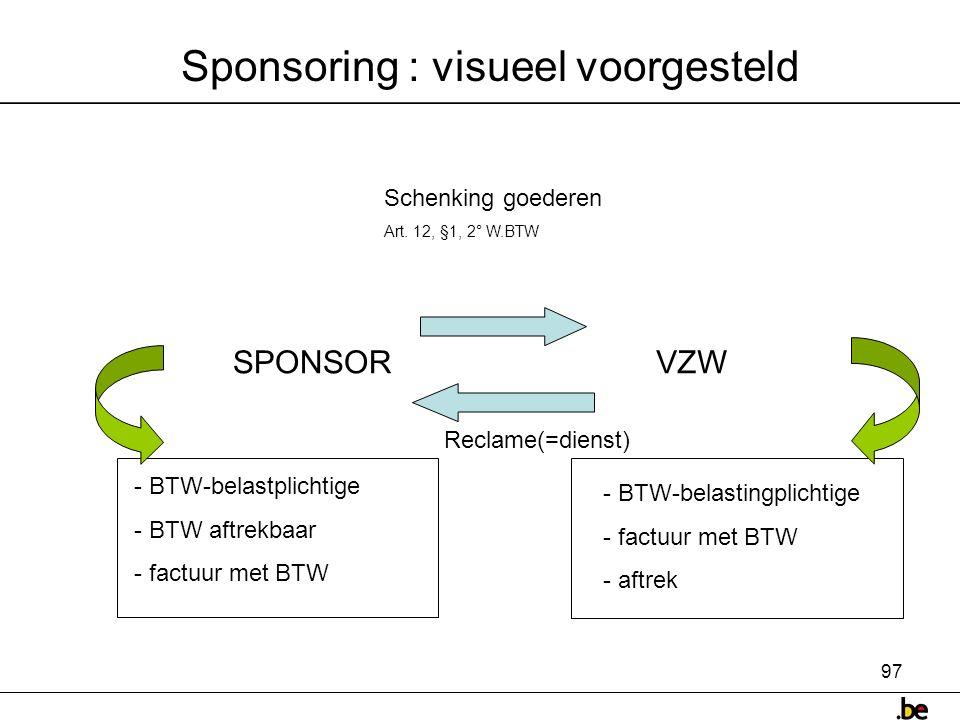 97 Sponsoring : visueel voorgesteld SPONSORVZW Reclame(=dienst) Schenking goederen Art.