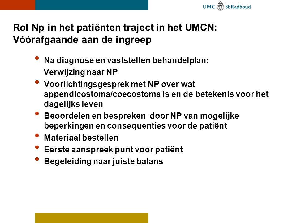 Rol Np in het patiënten traject in het UMCN: Vóórafgaande aan de ingreep • Na diagnose en vaststellen behandelplan: Verwijzing naar NP • Voorlichtings