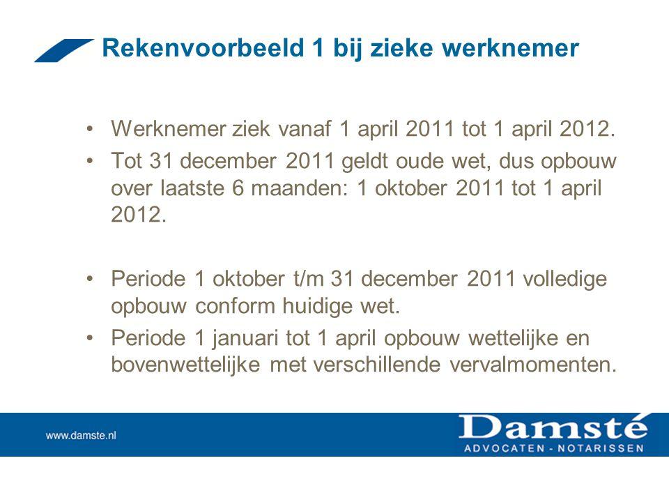 Rekenvoorbeeld 1 bij zieke werknemer •Werknemer ziek vanaf 1 april 2011 tot 1 april 2012. •Tot 31 december 2011 geldt oude wet, dus opbouw over laatst