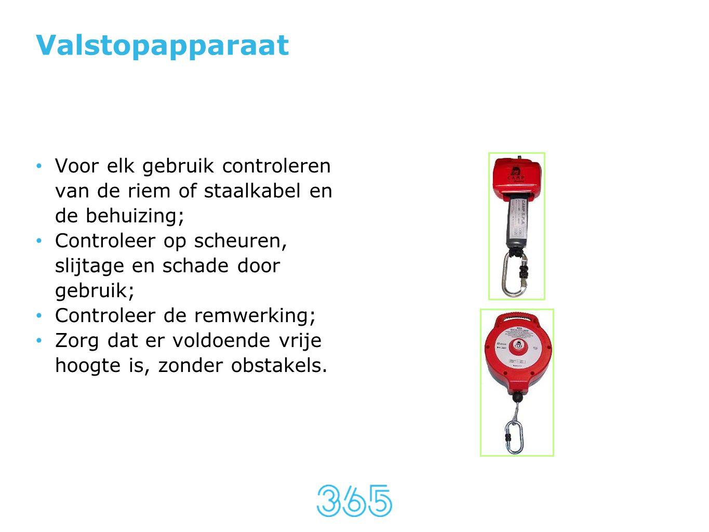 Valstopapparaat • Voor elk gebruik controleren van de riem of staalkabel en de behuizing; • Controleer op scheuren, slijtage en schade door gebruik; •