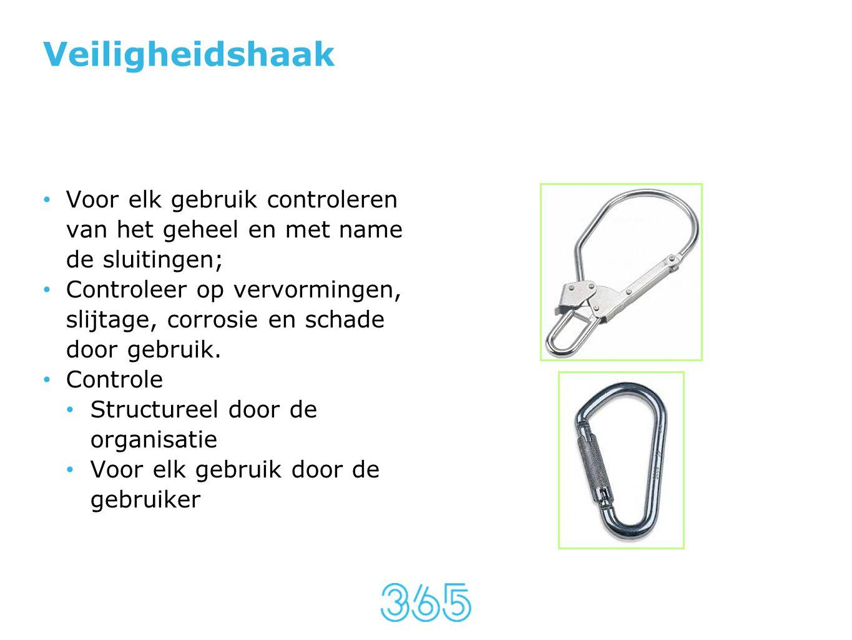 Veiligheidshaak • Voor elk gebruik controleren van het geheel en met name de sluitingen; • Controleer op vervormingen, slijtage, corrosie en schade do