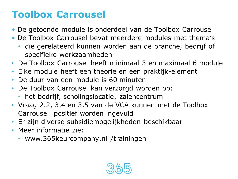 Toolbox Carrousel • De getoonde module is onderdeel van de Toolbox Carrousel • De Toolbox Carrousel bevat meerdere modules met thema's • die gerelatee