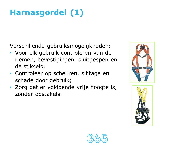 Harnasgordel (1) Verschillende gebruiksmogelijkheden: • Voor elk gebruik controleren van de riemen, bevestigingen, sluitgespen en de stiksels; • Contr
