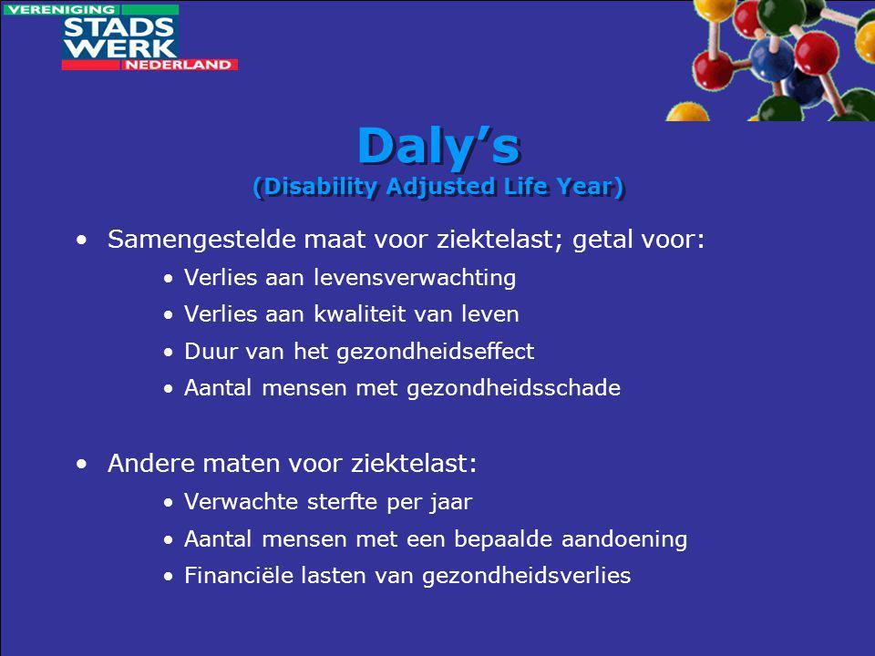 Daly's (Disability Adjusted Life Year) •Samengestelde maat voor ziektelast; getal voor: •Verlies aan levensverwachting •Verlies aan kwaliteit van leve