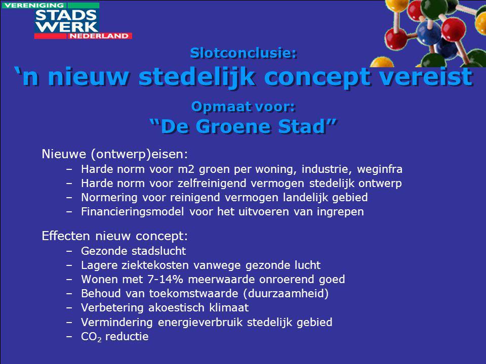 """Slotconclusie: 'n nieuw stedelijk concept vereist Opmaat voor: """"De Groene Stad"""" Nieuwe (ontwerp)eisen: –Harde norm voor m2 groen per woning, industrie"""