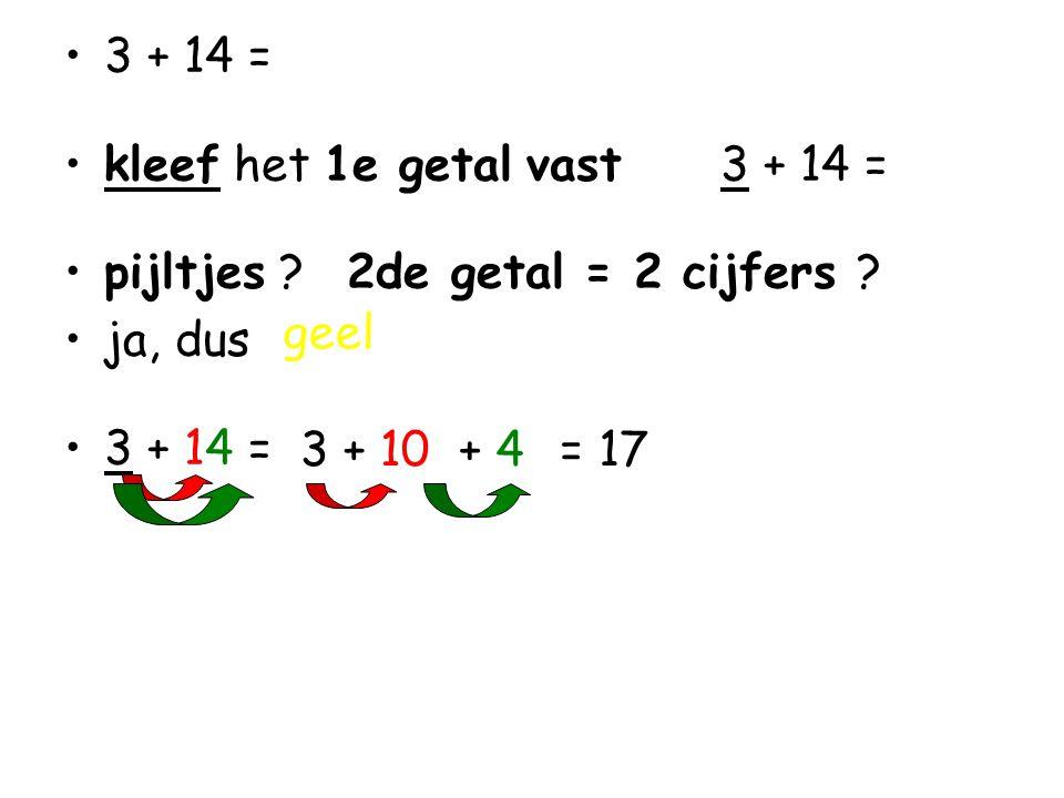 •3 + 14 = •kleef het 1e getal vast 3 + 14 = •pijltjes .